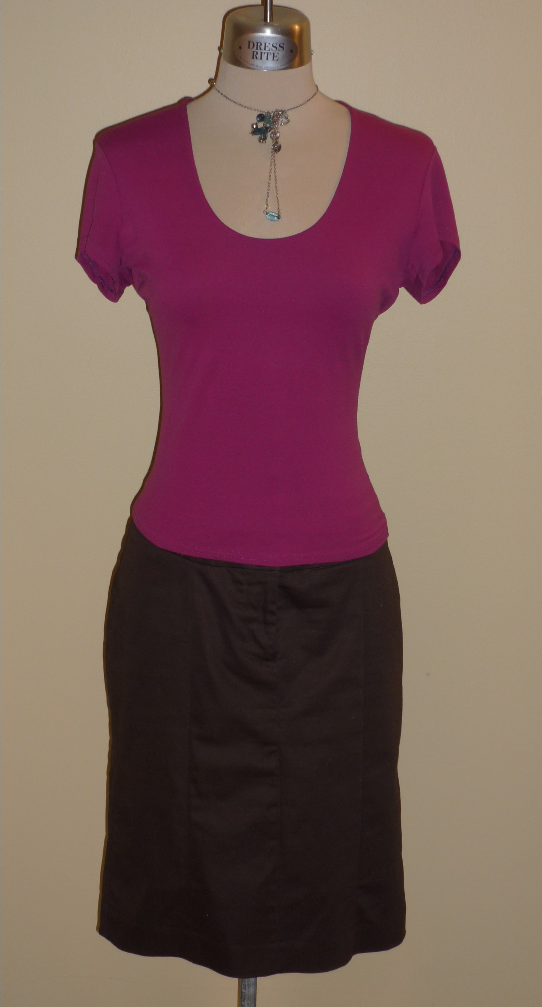 Fuschia top with brown pencil skirt